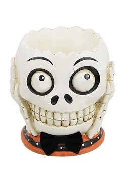 Skull Head w/ Bowtie Tabletop Halloween Treat Bowl
