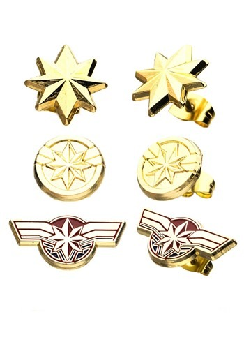 Womens Captain Marvel Earring Studs Set