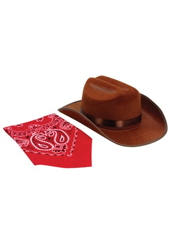 Brown Junior Cowboy Hat and Bandana Set