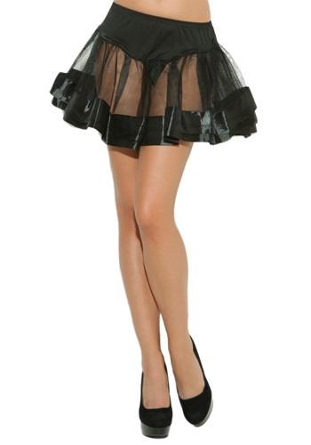 Black Satin Womens Petticoat