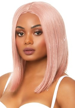 Pink Tinsel Long Bob Wig