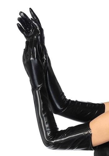 Womens Long Black Vinyl Zipper Gloves