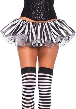 Womens Black and White Striped Satin Tutu