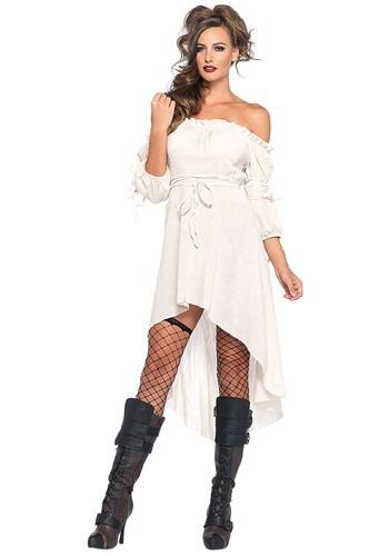 Womens White Hi-Lo Pirate Dress Costume