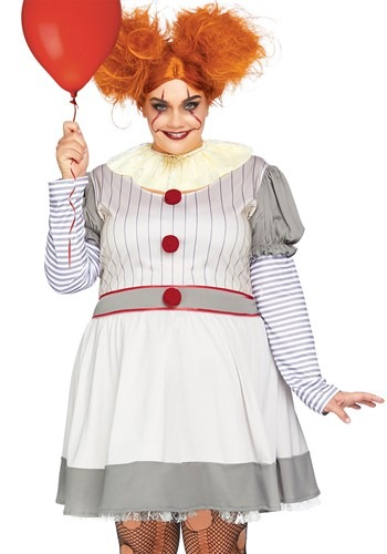 Womens Plus Creepy Clown Costume