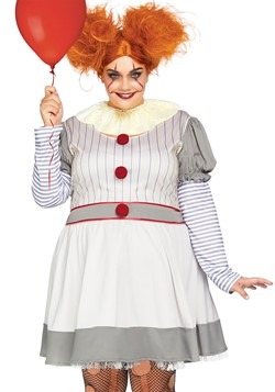 Womens Plus Creepy Clown Costume