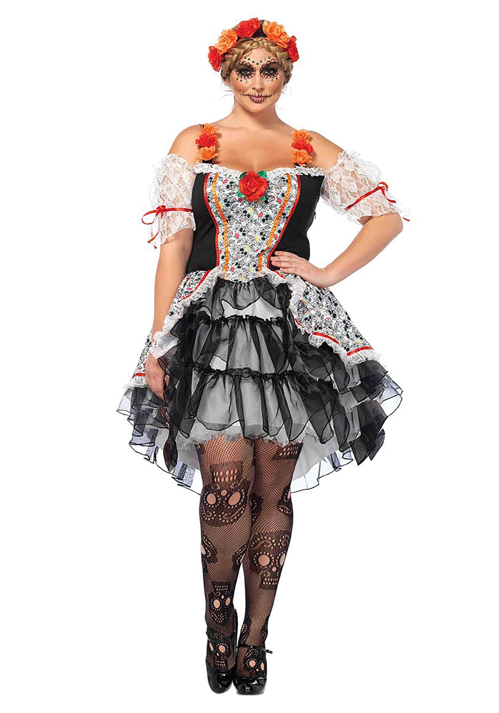 Ladies Day of the Dead Senorita Doll Costume Adults Womens Halloween Fancy Dress