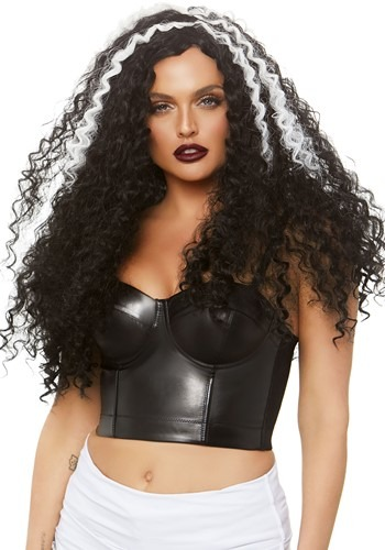Women's Long Curly Black and White Wig