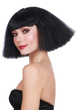 Black Crimped Wedge Bob Wig
