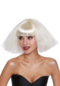 White Crimped Wedge Bob Wig