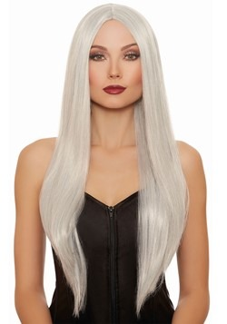 Long Straight Gray/White Mix Wig