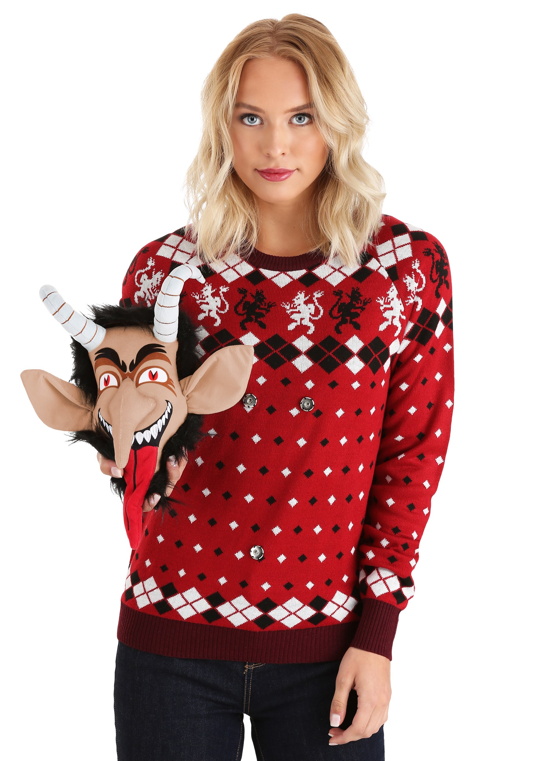 Krampus Head Ugly Christmas Sweater Adult 3d