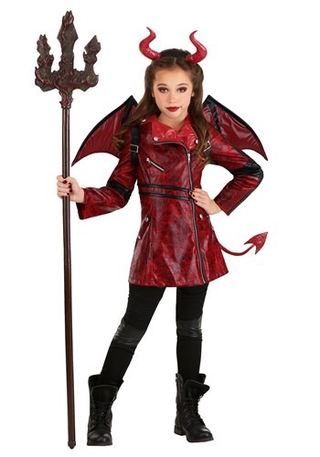 Leather Devil Girls Costume