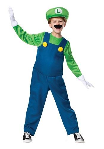 Super Mario Brothers Boys Luigi Deluxe Costume