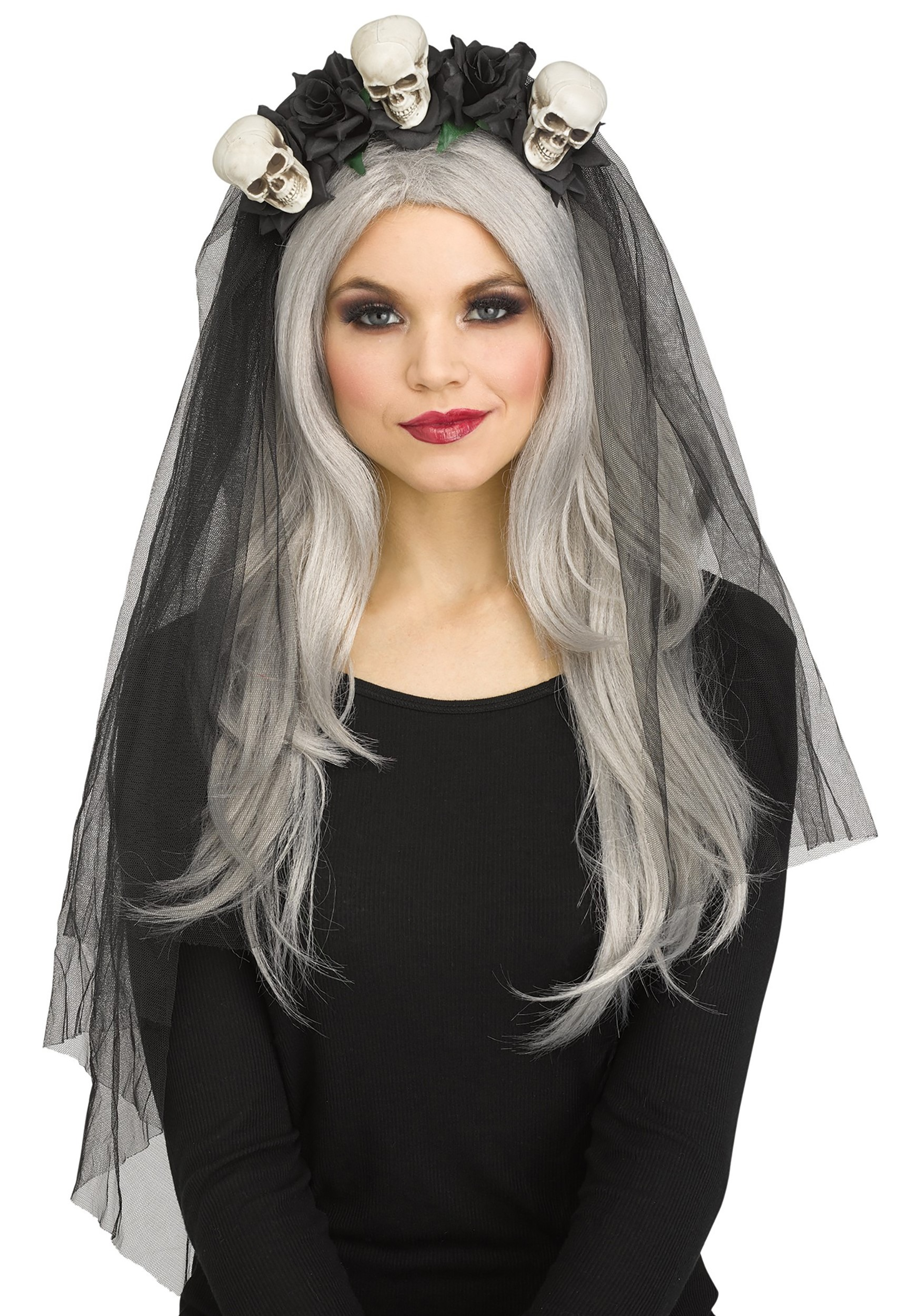 Ladies Skull Conture Headband Veil Halloween Fancy Dress Accessory Womens