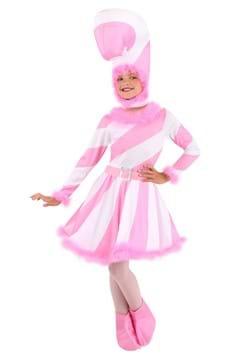 Girls Pink Candy Cane Dress Costume