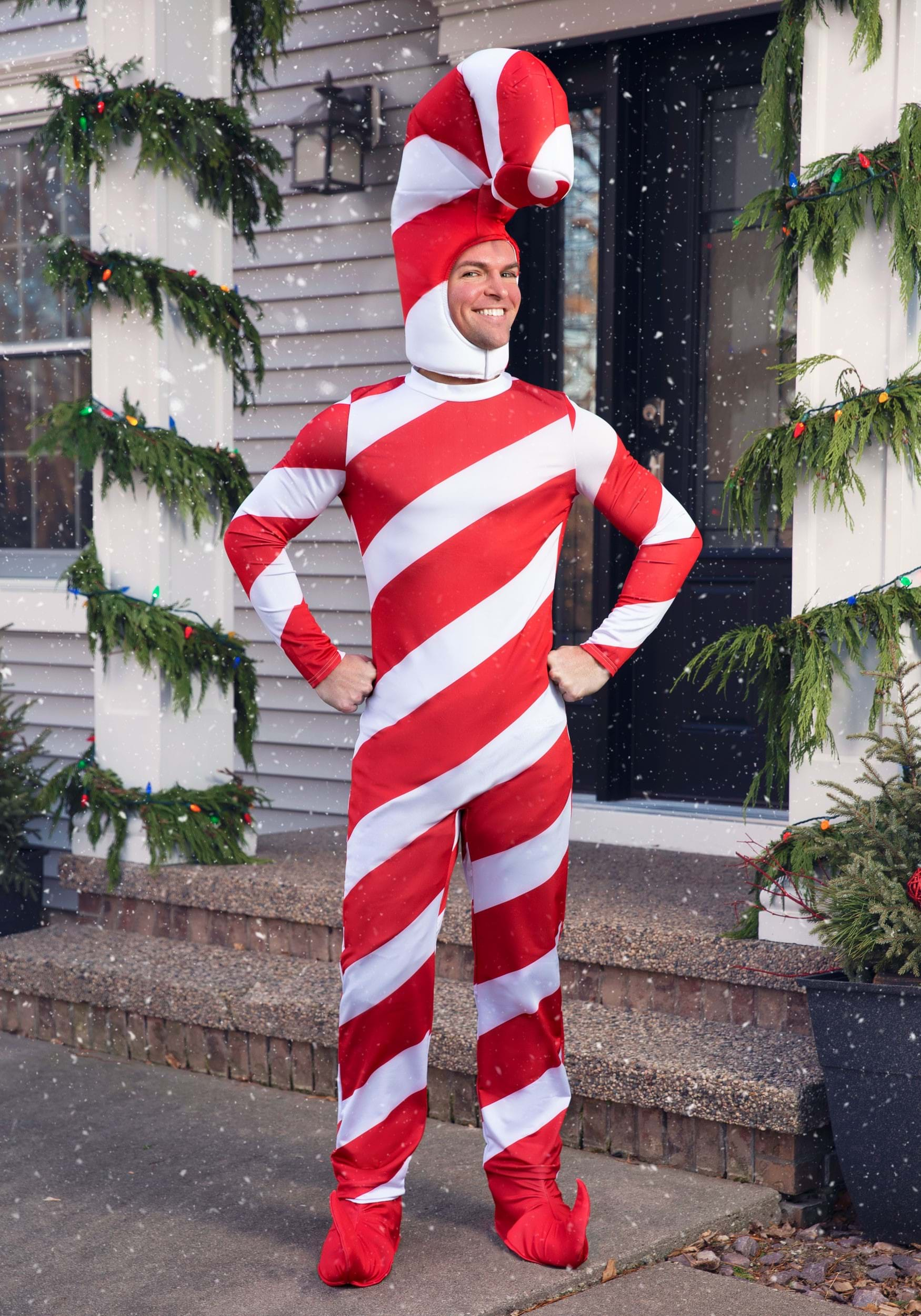 White Red Striped Light Up Candy Cane Striped Cap Elf Christmas Adult Costume