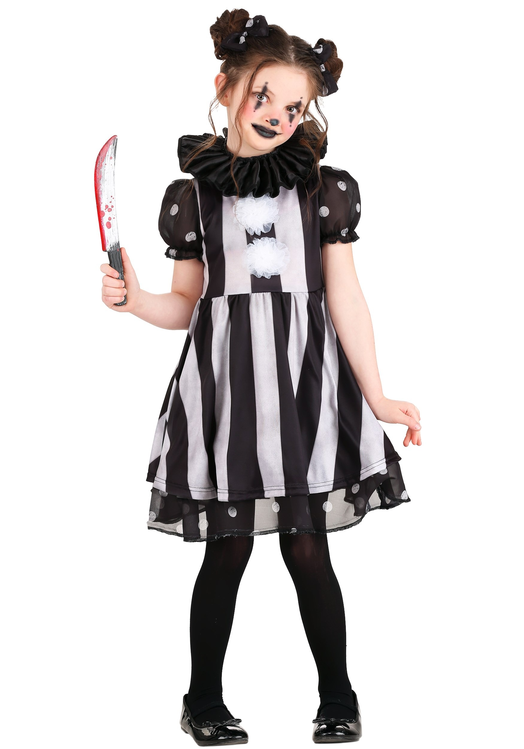 Clown Halloween Costumes For Girls.Dark Circus Clown Costume For Girls