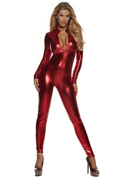 Metallic Red Mock Neck Jumpsuit