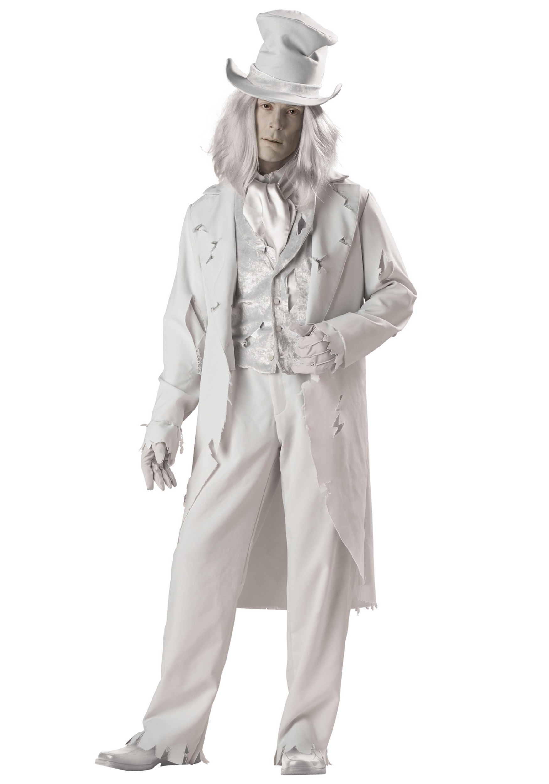 Ghostly gentleman costume includes Vest /shirt combo Coat Pants Dickey Hat Gloves Wig costumes men Halloween