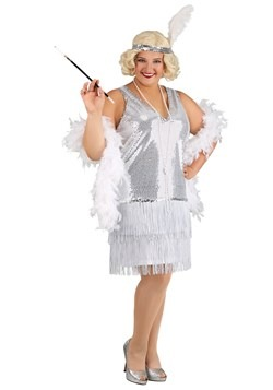 Plus Size Women's Crystal Flapper Costume