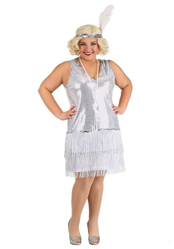 Plus Size Womens Crystal Flapper Costume