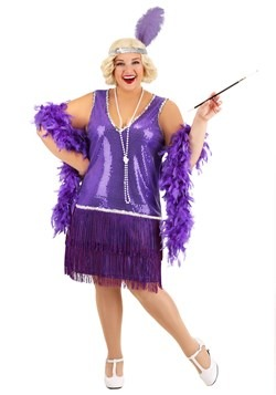 Plus Size Women's Amethyst Flapper Costume