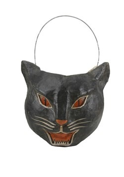 Paper Mache Cat Candy Bucket Halloween Decor
