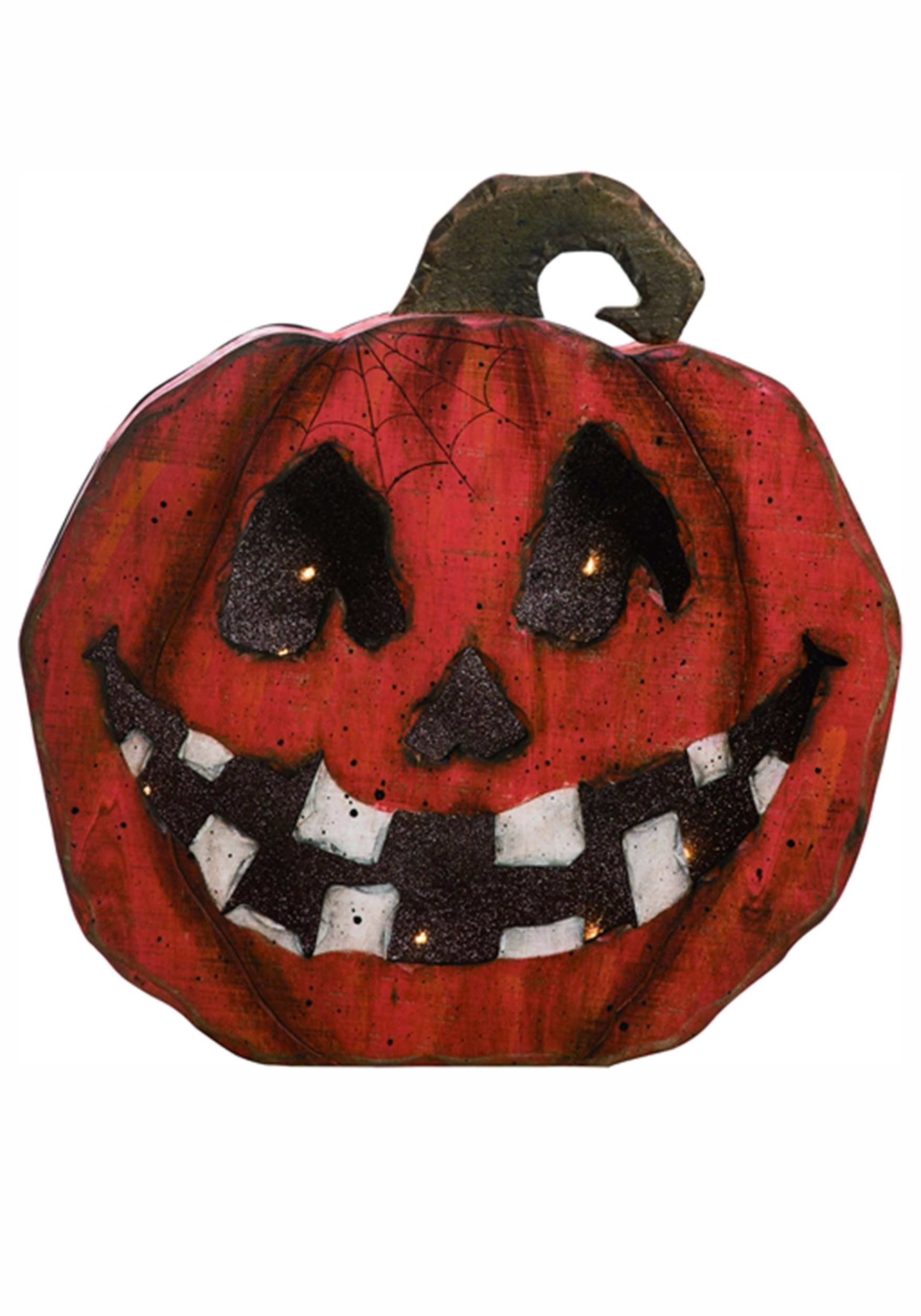 Jack O Lantern Face Pumpkin Wood Light Up Halloween Decor