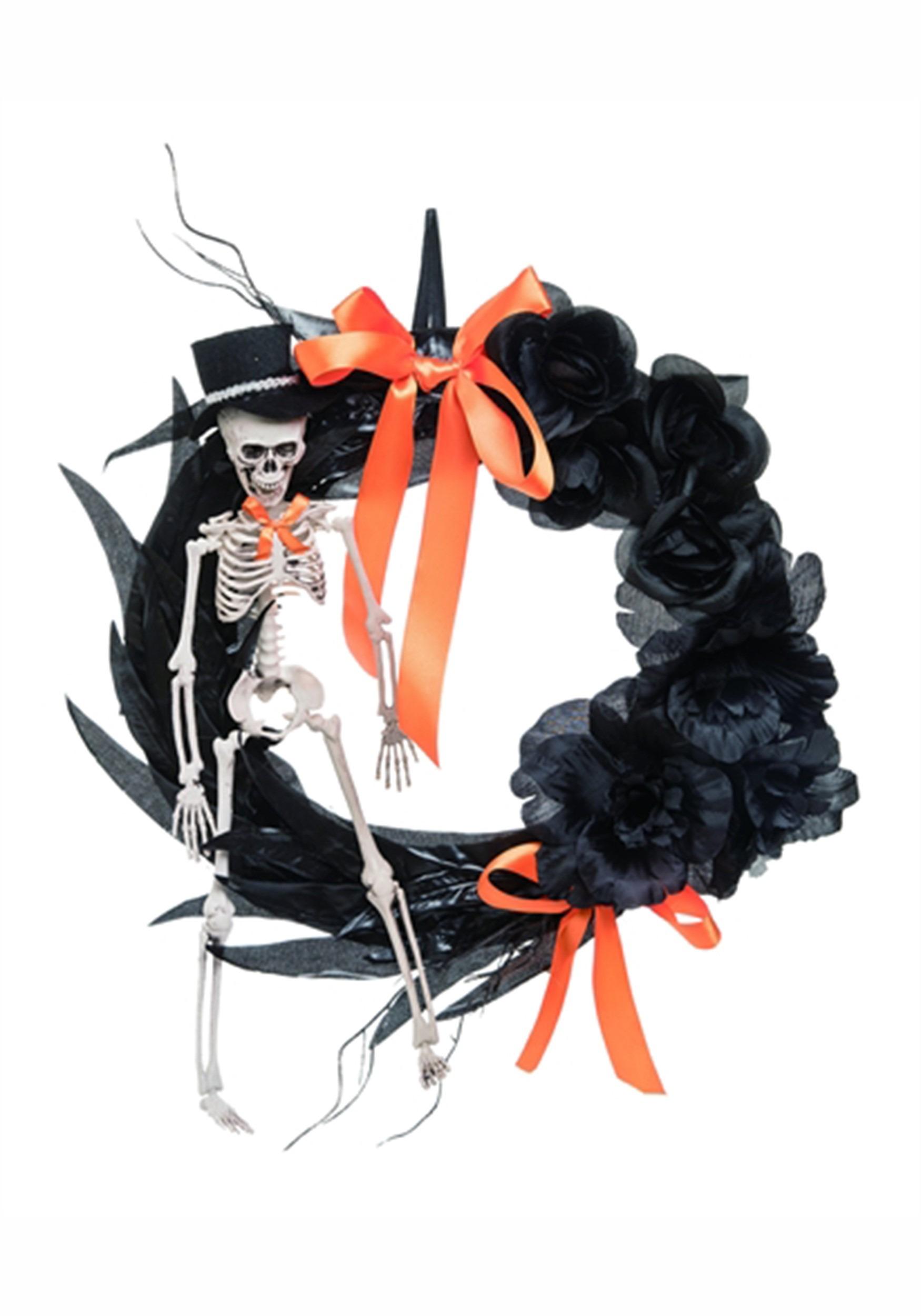 Feather Foam/Plastic Skeleton Wreath Halloween Decor