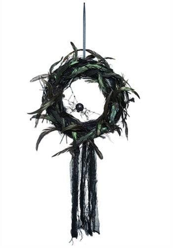 Foam Feather Gothic Wreath w/Spider