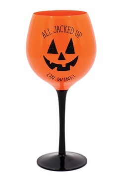 All Jacked Up On Wine Orange Halloween Glass