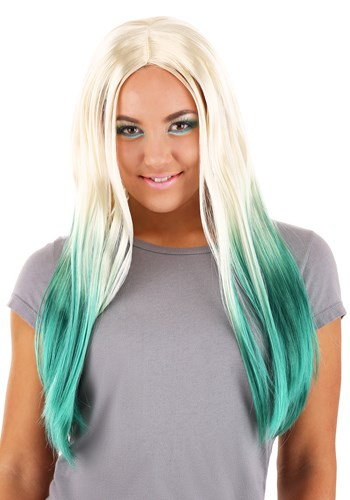 Womens Blonde and Green Ombre Mermaid Wig