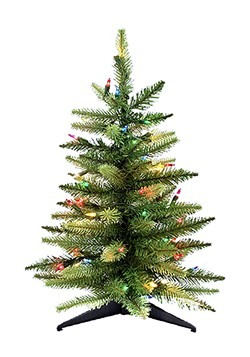 24 Inch Pre-lit Table Tree with Multi Color Lights