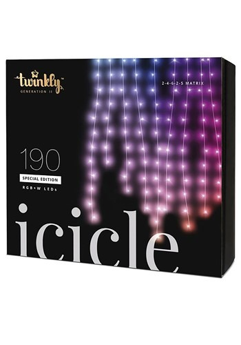 Twinkly 190 LED Icicle Light Set - Bluetooth Activated