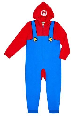 Mario Kids Hooded Union Suit Costume