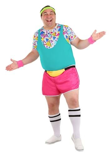 Mens Plus Size Work It Out 80s Costume