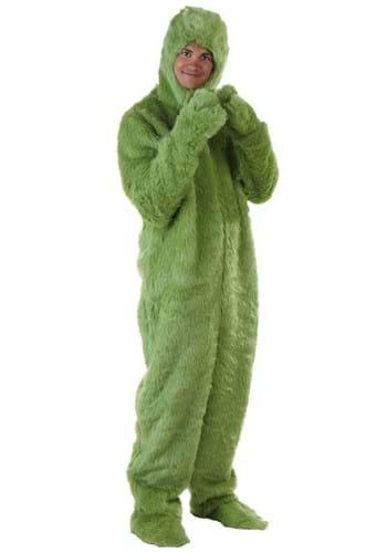 Adult Plus Size Green Furry Jumpsuit Upd