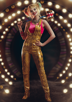 Women's Harley Quinn Gold Overalls Costume Main Update