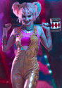 Women's Harley Quinn Gold Overalls Costume Alt 7