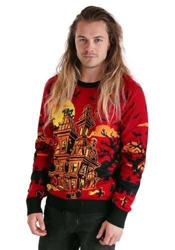 Adult Haunted House Halloween Sweater