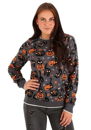 Quirky Kitty Halloween Sweater for Adults