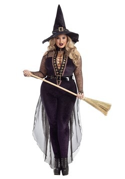 Plus Size Midnight Violet Witch Costume for Women