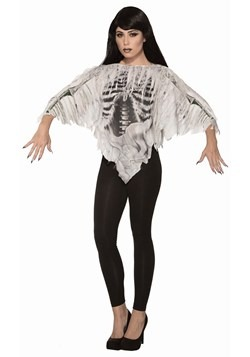 Women's Tattered Skeleton Poncho Costume11