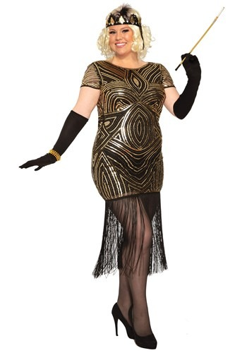 Womens Art Deco Plus Size Flapper Dress Costume