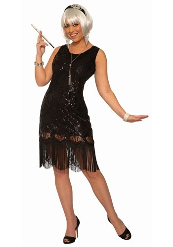 Women's Black Beaded Fringe Flapper Dress Costume