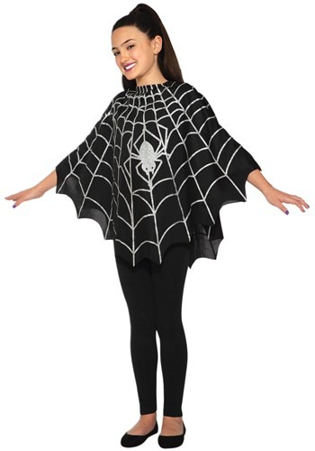 Kid's Black Spider Poncho Costume