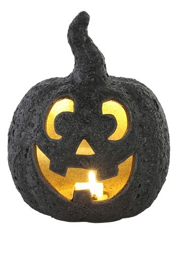 Small Ceramic Black Stone-Look Glow Pumpkin