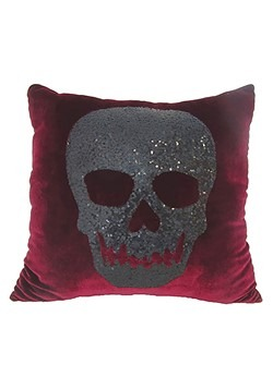 Red Velvet Sequin Skull Pillow