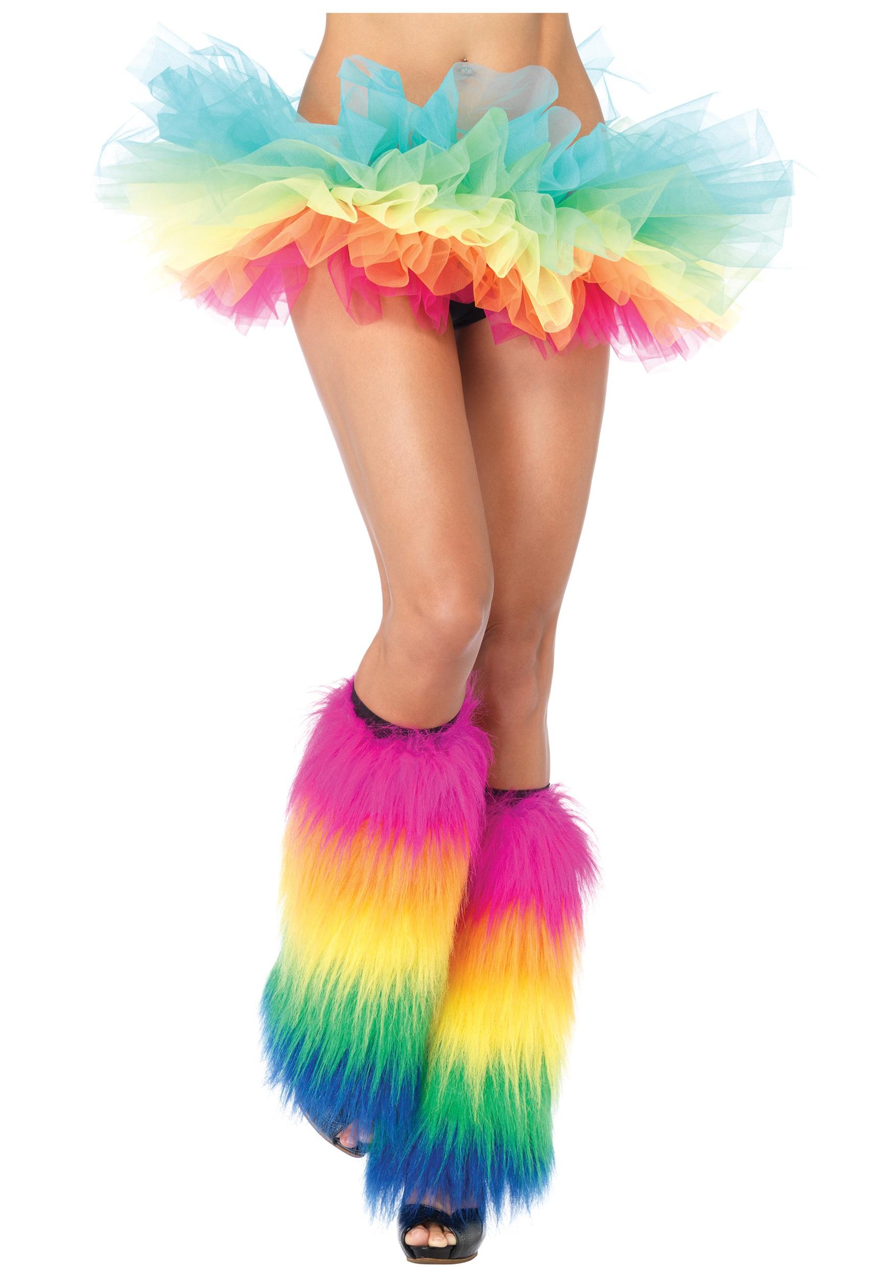 Womens Rainbow Unicorn Fancy Dress Costume /& Legwarmers Ladies Outfit